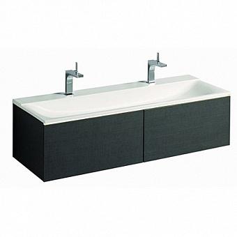 Geberit Xeno² Тумба с раковиной 139.5х35х47.3см, с 2 отв., подвесная,  с двумя выдвижными ящиками, цвет: серый/меламин