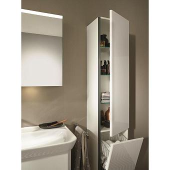 Burgbad Iveo Пенал 176х32х35 см, 1 дверь, петли справа, 1 ящик для белья, 3 полки стекл., 1 полка несъемная, ручка глянец белый G0161, цвет: F2833