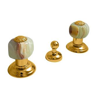 Nicolazzi Onice Смеситель для биде с 2мя ручками, на 3 отв., цвет: золото