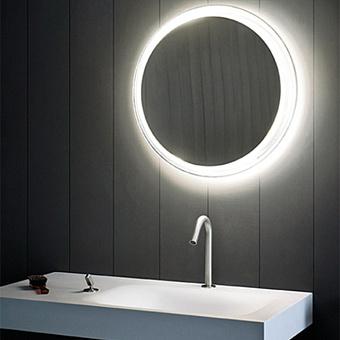 Agape Solid Круглое зеркало d60.5x12 см с подсветкой, цвет: металл