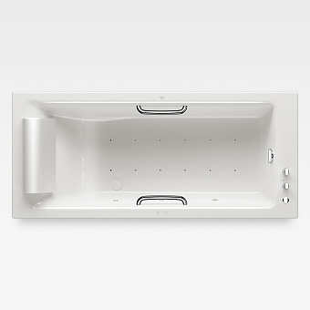 Armani Roca Island Встраиваемая ванна 180х80см а/мас. хромотер. термостат руч. душ, Hide-Flow, ручки, мягкий подголовник, цвет: glossy white/хром