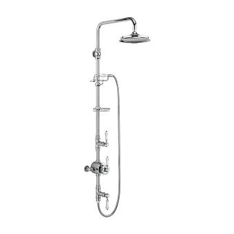 Burlington Stour Душевой комплект внешний, с 2-мя выпусками, с руч.душем, мыльницей, с верхним душем, цвет: хром