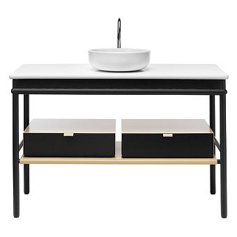 Burgbad Mya Комплект напольной мебели 120x50x79 см, дуб черный, столешница с раковиной белые