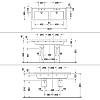 Duravit Starck 3 Раковина двойная 1300х485 мм с 2мя отверстиями под смеситель , с переливом, цвет белый