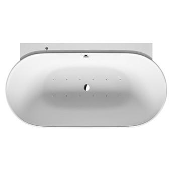 Duravit Luv Ванна 1800x950мм, гидромассажная пристенный вариант, с бесшовной панелью и ножками, с двумя наклонами для спины, со сливом-переливом, цвет белый