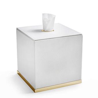 3SC Snowy Контейнер для салфеток, 14х14хh14 см, настольный, цвет: белая эко-кожа/золото 24к. Lucido
