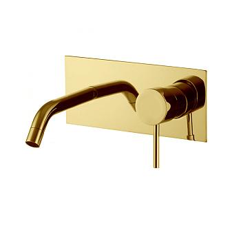 Carlo Frattini Spillo Up Смеситель для раковины, настенный монтаж, излив 200 мм., донный клапан click-clack, цвет: золото