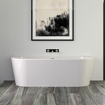 KNIEF Wall Ванна пристенная 180х80х60см, с щелевым переливом,  цвет белый