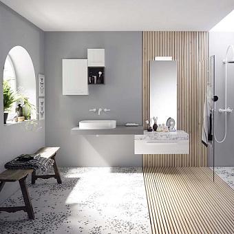 Burgbad Sys30 Комплект мебели: тумба со столешницей 900х540х240 мм, 1 ящик, с раковиной, зеркалом, и светильником с металлическими кронштейнами, ручка белая,  цвет: белый глянцевый