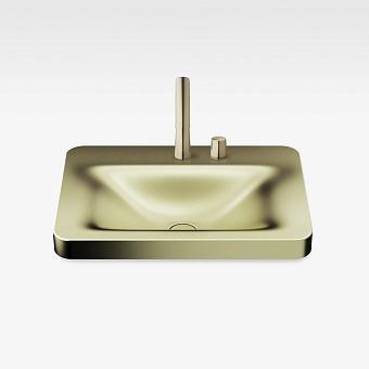 Armani Roca Baia Раковина встраиваемая сверху 66x47см с 2 отв. под смеситель, со скр. переливом, цвет: shagreen matt gold