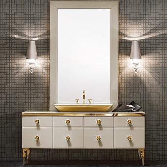 VITAGE milldue edition MAJESTIC Комплект мебели с базой 180см, раковиной NIZZA, зеркалом GINEVRA и светильниками,  ручки золото Цвет: mandorla-13/золото
