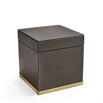 3SC Milano Коробочка универсальная, 14х14хh14см, с крышкой, настольная, цвет: коричневая эко-кожа/золото 24к. Lucido