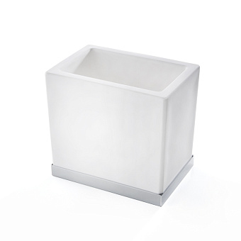 3SC Mood Deluxe White Стакан настольный,  композит Solid Surface, цвет: белый матовый/хром