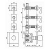 Zucchetti Bellagio Термостатический встроенный смеситель с 3 запорными клапанами, цвет: хром