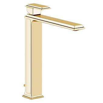 Gessi Eleganza Смеситель для раковины на 1 отверстие, высокий, с донным клапаном, цвет: шлифованное золото