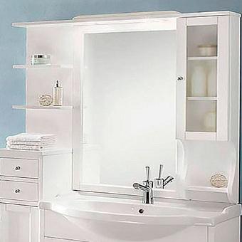 EBAN Eleonora Modular DX Зеркало в раме 107х104см, со шкафчиком cправа и полочками слева, цвет: bianco decape