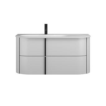 Burgbad Lavo 2.0 Комплект мебели 102х49.5х49.2см., левый, 2 ящика, раковина Velvet с сифоном, с 1 отв., ручки черные, цвет: белый глянцевый
