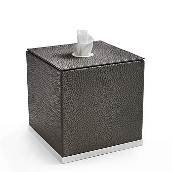 3SC Milano Контейнер для салфеток, 14х14хh14 см, настольный, цвет: коричневая эко-кожа/белый матовый