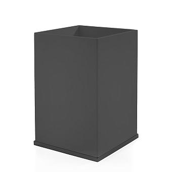 3SC Mood Deluxe Ведро, без крышки, 20х30х20 см, композит Solid Surface, цвет: чёрный матовый/черный матовый