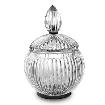 3SC Elegance Баночка универсальная, D=15/h20 см, с крышкой, настольная, цвет: прозрачный хрусталь/черный глянцевый