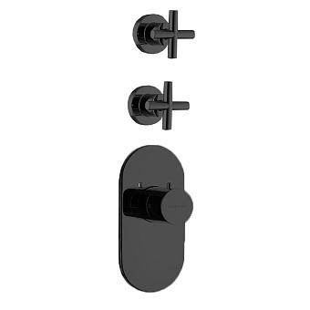 Carlo Frattini Fimatherm Смеситель для душа встроенный, термостатический, 2 запорных вентиля, цвет: черный матовый