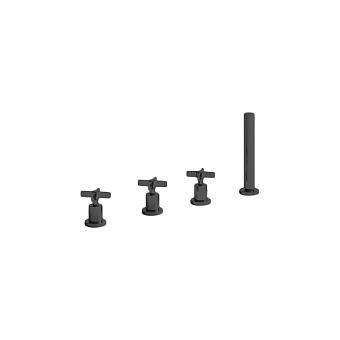 Cristina Cross Road Смеситель для ванны, 4 отв., цвет: черный матовый