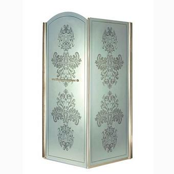 Душевое ограждение Gentry Home Arcadia 90 см угловое (дверь+фиксированная панель), матовое стекло с прозрачным цветочным декором, открытие двери слева/справа, ручка и профиль (Incalux)