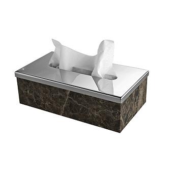 3SC Palace MARMO Контейнер для бумажных салфеток, 23х12,5хh12 см, прямоугольный, настольный, цвет: мрамор Emperador dark/хром
