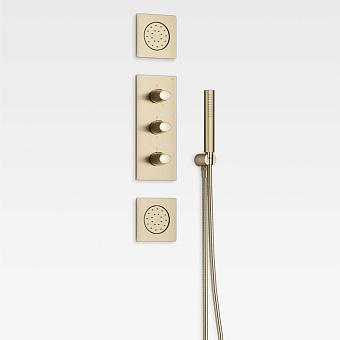 Armani Roca Island Комплект встраиваемой душевой системы.: термостат на 5 источников, ручной душ, кронштейн, шланг, 2 форсунки, цвет: greige