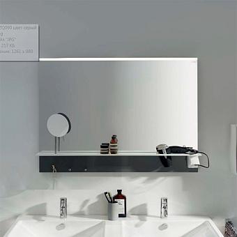 BURGBAD Eqio Зеркало с полкой , светодиод подсв.90х76.9х15см,выкл сбоку справа, 3 крючка, держ для фена справа, цвет: серый