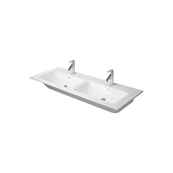 Duravit ME by Starck Двойная раковина для мебели с перел., с 3 отв. под смес., 1300x490мм, Цвет: Белый