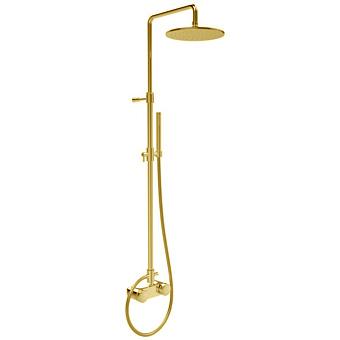 """Carlo Frattini Texture Collection Смеситель для душа внешнего монтажа, ручки """"X"""", с верхним душем Ø 250 мм. и душевым комплектом, цвет: золото"""