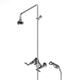 Stella Italica Leve Душевой комплект 3284/33-90: смеситель, штанга+ручной+верхний душ 90мм, цвет: хром