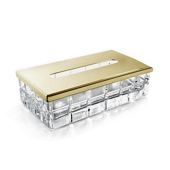 3SC Palace Контейнер для бумажных салфеток, 23х12,5хh12 см, прямоугольный, настольный, цвет: прозрачный хрусталь/золото 24к. Lucido