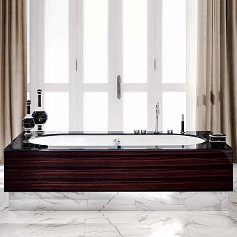 VITAGE milldue edition Ванна отдельностоящая 200х100см, стальная, с сифоном, топ стекло nero, цвет: белый / глянцевый шпон Ebano