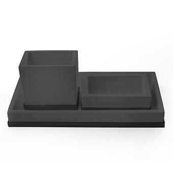3SC Mood Deluxe Комплект: стакан, мыльница, лоток, цвет: чёрный матовый/черный матовый