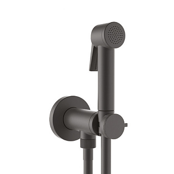 Bossini Paloma Flat Гигиенический душ с прогрессивным смесителем, лейка пластиковая, шланг Cromolux, цвет: черный матовый