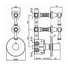 """Zucchetti Agora Classic Встроенный смеситель термостатический, 1/2"""", с 2 запорными клапанами, цвет: хром"""