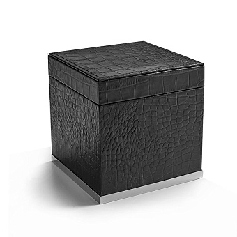 3SC Cocco Коробка с крышкой 14х14хh14см, отделка: черная кожа, цвет: хром