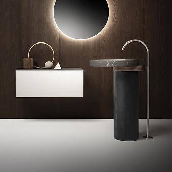 Falper Eccentrico Раковина 63x56x90 см, без отв., напольная, мраморная Pietra Grey, полотенцедержатель матовая медь, цвет: серый дуб
