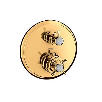 Axor Montreux Термостат с запорным/переключающим вентилем, СМ, 2 потребителя, цвет: полированное золото