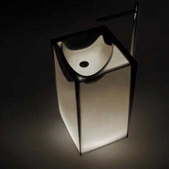 Antonio Lupi Astro Раковина 50х45х85 см, напольная, слив в пол, без отв для смесит, с дон клапан, сифоном и трубой слива, Cristalmood, цвет: Nebbia