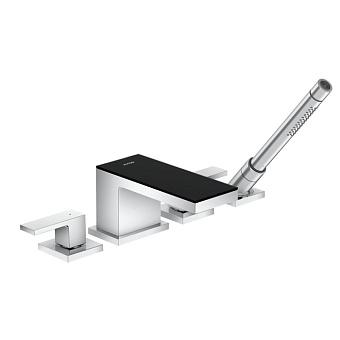 Axor MyEdition Смеситель для ванны, на 4 отв, излив 200мм, цвет: хром/черное стекло