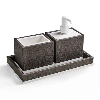 3SC Milano Комплект: стакан, дозатор, лоток, цвет: коричневая эко-кожа/белый матовый