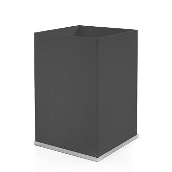 3SC Mood Deluxe Ведро, без крышки, 20х30х20 см, композит Solid Surface, цвет: чёрный матовый/хром