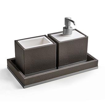 3SC Milano Комплект: стакан, дозатор, лоток, цвет: коричневая эко-кожа/хром