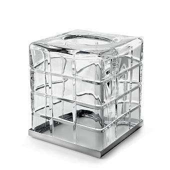 3SC Palace Контейнер для бумажных салфеток, 13х13х15 см, квадратный, настольный, цвет: прозрачный хрусталь/хром