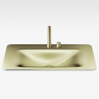 Armani Roca Baia Раковина встраиваемая сверху 90x47см с 2 отв. под смеситель, со скр. переливом, цвет: shagreen matt gold