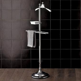 Devon&Devon Single Вешалка для одежды, керамический держатель для запонок/драгоценностей, полотенцедержатель на напольной подставке, цвет: хром