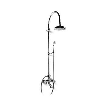 Bongio Rivoli Смеситель для ванны - с изливом, душевой стойкой с верхним и ручным душем, цвет хром/Cristallo00